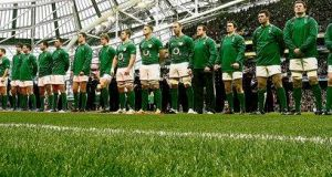 Ireland line out against Wales for the RBS Six Nations 2012 match at the Aviva Stadium. photograph: Alan Betson