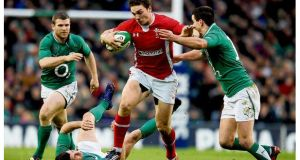 George North of Wales charges upfield during the Six Nations match between Ireland and Wales at the Aviva Stadium on February 5th, 2012. photograph: david rogers/getty