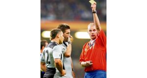 Alan Lewis (above) laments the loss of interaction between players and referee while Wayne Barnes (right) is the target of abuse from New Zealand fans over his 2007 World Cup quarter-final performance