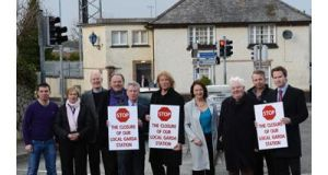 Stepaside residents protest over the closure of the local Garda station last week. Photograph: Cyril Byrne.