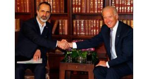 Sheikh Moaz Alkhatib, president of the National Coalition of Syrian Revolutionary and Opposition Forces and US vice-president Joe Biden (R) meet for bilateral talks during the 49th Conference on Security Policy in Munich. Photograph: Reuters.