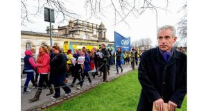 Liam Doran, INMO general secretary, during a nurses' protest in Dublin yesterday. Photograph: Brenda Fitzsimons