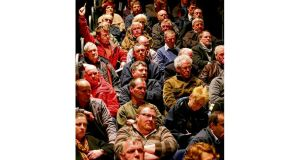 Some of those attending the public meeting on the proposed salmon farm in Galway city. Photographs: Joe OShaughnessy