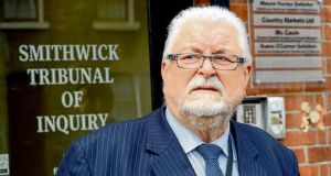 Lord Maginnis leaving the Smithwick Tribunal which is investigating possible Garda collusion with the deaths of two RUC officers shot dead by the IRA in south Armagh in 1989. Photograph: Cyril Byrne