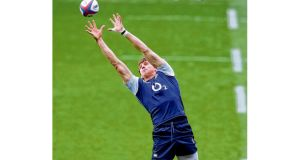England's Tom Wood during the England captain's run at Twickenham yesterday before today's encounter with Scotland. Photograph: David Rogers/Getty Images