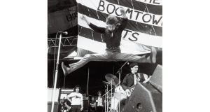 Bob Geldof on stage with The Boomtown Rats. photographs: manchester daily express/sspl/getty, terry thorp, georges dekeerle/getty and fin costello/redferns/getty