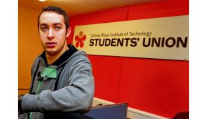 Money woes: Joe O'Connor, students' union president at GMIT in Galway. photographs: joe o'shaughnessy and brenda fitzsimons