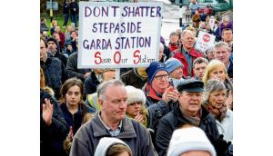 Protesters congregrate in Stepaside, Co Dublin yesterday to protest over the closure of the local Garda station. photograph: eric luke
