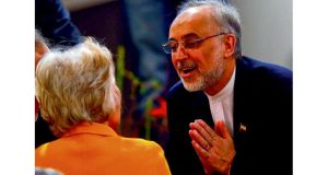 Iranian foreign minister Ali Akbar Salehi talks to Jane Margaret Harman of the Woodrow Wilson Center in Washington at the security conference in Munich yesterday. photograph: michael dalder/reuters