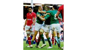 Ireland wing Simon Zebo celebrates after scoring the first try during the Six Nations game between Wales and Ireland at the Millennium Stadium in Cardiff on Saturday. photograph: stu forster/getty images