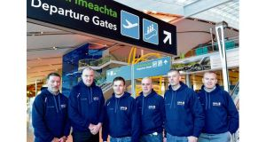 Former Dublin footballer Ciarán Duff; former Dublin manager Pat Gilroy; head of the Gaelic Players' Association Dessie Farrell; former Dublin footballer Shay Keogh; former Dublin hurler Shane Dalton; and Seán Murphy, Aer Lingus, before leaving for New York