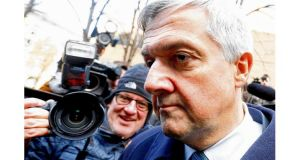 Former UK energy and climate change secretary Chris Huhne leaves court in London yesterday where he pleaded guilty to perverting the course of justice over accusations he persuaded his then wife Vicky Pryce to take the blame for a speeding offence he had committed. Photograph: Olivia Harris /Reuters