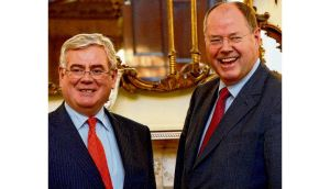 Eamon Gilmore with Peer Steinbrück on Sunday: Ireland should be able to rely on EU commitments from last June.