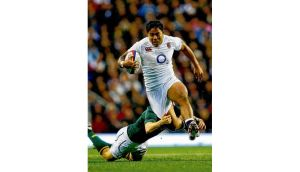 England's Manusamoa Tuilagi in full flight. The 21-year-old Leicester Tigers centre was passed fit to train today and may be included in the team to face Ireland.