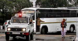 A bus arrives at a New Delhi court to be used as evidence in the trial of five men accused of rape and murder. Photograph: AP