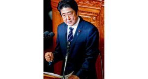 Japanese prime minister Shinzo Abe. His 'Abenomics' has three elements: renewed fiscal stimulus; pressure on the Bank of Japan to agree a higher target for inflation; and unspecified structural reforms. Photograph: Toru Hanai/Reuters
