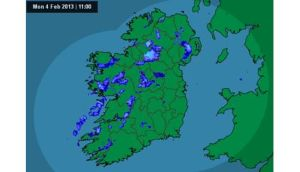 Windy conditions will persist throughout the day with wintry showers expected tonight through to tomorrow morning. Photograph: Met Eireann