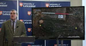 Lead archaeologist Richard Buckley, speaks at a press conference at the University Of Leicester as archaeologists announce whether the human remains found in Leicester are those of King Richard III. Photograph: Dan Kitwood/Getty
