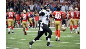 Jimmy Smith of the Baltimore Ravens reacts after the San Francisco 49ers couldn't convert a fourth down play to turn the ball over in the final two minutes of the fourth quarter during Super Bowl XLVII. Photograph: Harry How/Getty Images