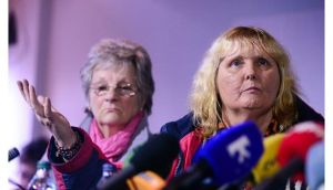 Magdalene survivors Marina Gambold and Mary Smyth at the Magdalene Survivors Together Group press conference this afternoon. Photograph: Bryan O'Brien/The Irish Times