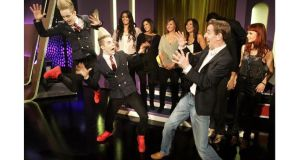 Jedward celebrates last year after winning the Eurosong contest. Photograph: Dara MacDonaill/The Irish Times
