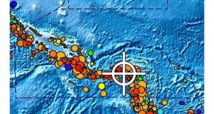 A bulletin released by the Pacific Tsunami Warning Center/NOAA/NWS today showing the area affected by the tsunami warning following a major earthquake off the Solomon Islands. Image: Reuters