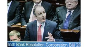 Micheal Martin seen during the emergency Dail session to debate legislation to dissolve IBRC overnight.