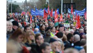 Gardai estimated up 25,000 people attended the Dublin anti-austerity march . Photograph: Dara Mac Donaill /Irish Times