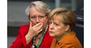 German education minister Annette Schavan (left) resigned today after being stripped of her doctorate for alleged plagiarism, in an embarrassing blow to her ally Angela Merkel. Photograph: Thomas Peter/Reuters