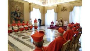 Pope Benedict XVI at a consistory at the Vatican today during which he announced he would resign on February 28th next. Photograph: Reuters