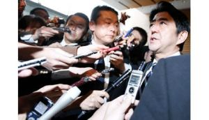Japan's prime pinister Shinzo Abe speaks to media after attending a meeting of Security Council of Japan at his official residence in Tokyo today after reports of seismic activity from North Korea's nuclear test. Photograph: Issei Kato/Reuters