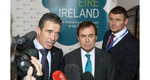 Minister for Defence Alan Shatter TD (centre) and Anders Fogh Rasmussen (left), secretary general of Nato, speak to reporters after an informal meeting of EU defence ministers at Dublin Castle. Photograph: Getty