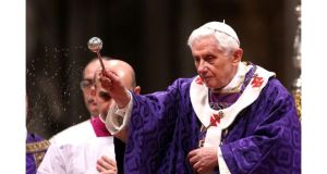 Pope Benedict XVI leads the Ash Wednesday service at the St Peter's Basilica in Vatican City tonight. Photograph:Franco Origlia/Getty Images