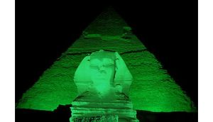 Mocked up shot of the Sphinx in Egypt which will `go green? for the first time ever to mark St Patrick?s Day in 2013. Photograph: Tourism Ireland