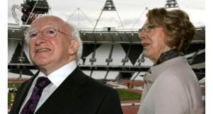 Michael D Higgins and his wife Sabina are shown round the Olympic Stadium in Stratford, London during a visit last year. Photograph: Chris Radburn/PA Wire