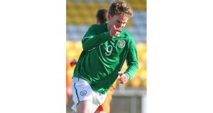 Aiden O'Brien celebrates his first goal at Tallaght Stadium. Photograph: Lorraine O'Sullivan/Inpho