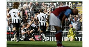 Stephen Ireland hangs his head after Kevin Nolan of Newcastle United scored his side's second of six goals at St James's Park. - (Photograph: Clive Brunskill/Getty Images)