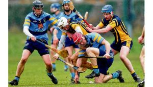 UCD's Willie Phelan (3) and Rory O'Carroll in action against DCU's Seánie McGrath and JJ Lennon at DCU Sportsgrounds yesterday. Photo: James Crombie/Inpho