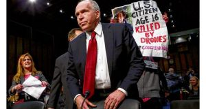 Anti-war protesters disrupt John Brennan's Senate hearing. photograph: getty