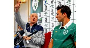 Republic of Ireland manager Giovanni Trapattoni and Stephen Kelly in seemingly happier times together at a Republic of Ireland press conference in March 2011. photograph: donall farmer/inpho