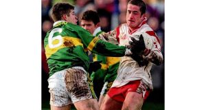 Tyrone's Stephen O'Neill with current Kerry manager Eamonn Fitzmaurice in 2000. photographs: inpho