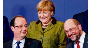 Framework for the future: French president François Hollande, German chancellor Angela Merkel and European Parliament president Martin Schulz in Brussels. photographs: eric vidal/reuters, françois lenoire/ reuters