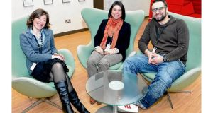 New Dubliners: Alessandra Verri, Susana Prieto Fermin and Luca Baldelli at PayPal. photographs: alan betson and eric luke