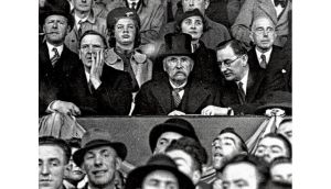 The match in question: Éamon de Valera, Douglas Hyde and Oscar Traynor watch Ireland beat Poland 3-2 in Dalymount Park, Dublin, in 1938. photograph: getty images