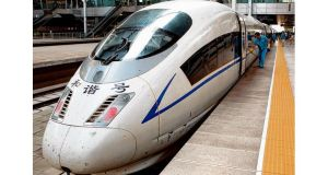 A China Railways CRH3 high-speed train parked in Beijing South station. photograph: bloomberg