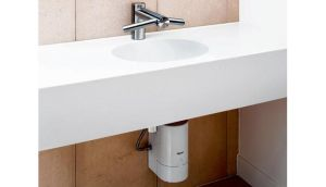 The Airblade tap supplies water to wash the hands and air to dry them too - all from the one high-tech faucet
