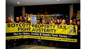 The Campaign Against Household and Water Taxes protesting in Swords last night. photograph: Aidan Crawley