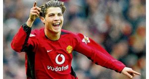 Cristiano Ronaldo celebrates scoring for Manchester Utd against Tottenham in 2003. Ronaldo rattled in 20 hat-tricks on the way to 182 goals for Real Madrid in 179 appearances.