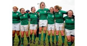 Ireland players celebrate their historic victory over England at Ashbourne. photograph: dan sheridan/inpho