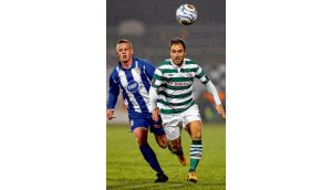 Shamrock Rovers' Sean O'Connor steals a march on Coleraine's Aaron Canning during last night's encounter at Tallaght Stadium. photograph: cathal noonan/inpho